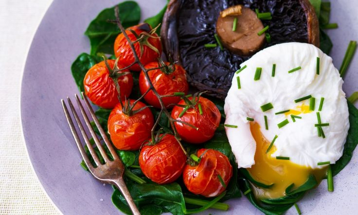 Bikini Fast Diet: Poached eggs with spinach, portabello mushroom and vine tomatoes