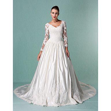 Lanting+mariée+robe+de+bal+petite+/+tailles+plus+mariage+train+robe+chapelle+v-cou+satin+/+tulle+–+USD+$+208.99