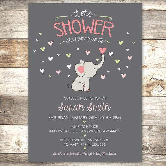 Elefante bebé ducha invitación mamá a ser por JustRightDesigns954