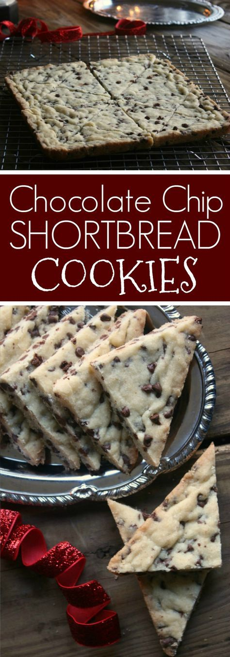 Mini Chocolate Chip Shortbread Cookies. Put these on your holiday baking list. These shortbread cookies are easy to make and taste so good. #holidaybaking #shortbreadcookie