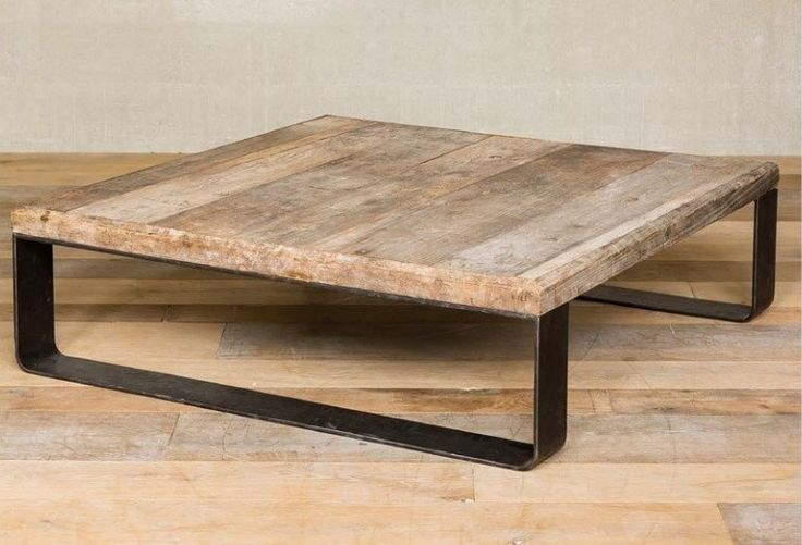 Mesa cuadrada metal y madera - vilmupa