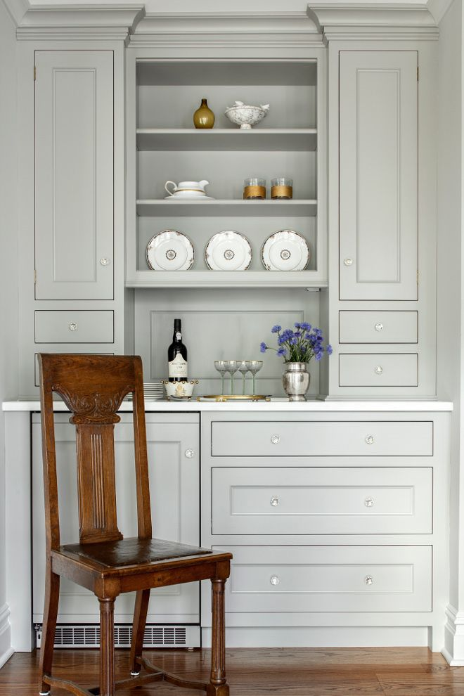 Dining room beverage built-in cabinet. Butlers pantry cabinet with beverage center is added to the dining room. The beverage center is close to the kitchen table and accessible tot he dining room for more formal entertaining. #beveragecenter #beveragecabinet Heidi Piron Design.