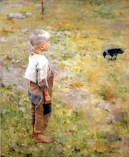 Akseli Gallen-Gallela: Poika ja varis, 1884. My grandfather was 4 years old in Finland when this painting was one. It could well have been a picture of him at that age.