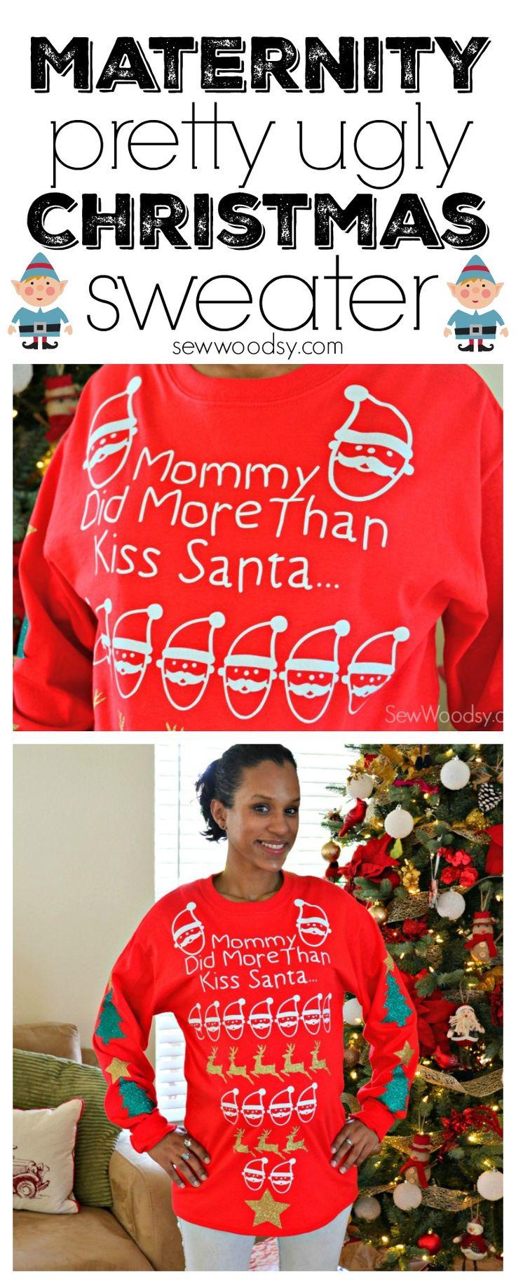 Maternity Pretty Ugly Christmas Sweater using @Cricut #PrettyUglySweater #Cricut #ad