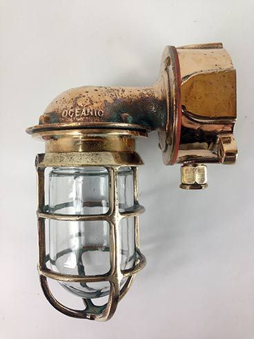 Vintage Bronze Oceanic 90-Degree Nautical Wall Light