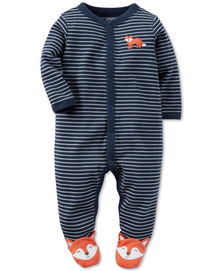 Crisp stripes and adorable fox appliques enhance the charm of these cotton one-piece footed pajamas for baby boy from Carter's. | Cotton | Machine washable | Imported | Contrast crew neck, sleeve hems