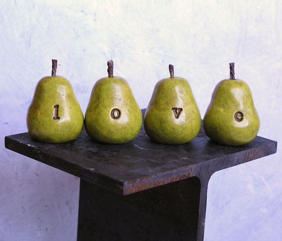 Valentines DayLOVE Three handmade polymer clay pears  by SkyeArt, $21.00