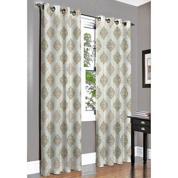 Beige N Ivory Damask Grommet Blackout Lined Curtain by FabricMart