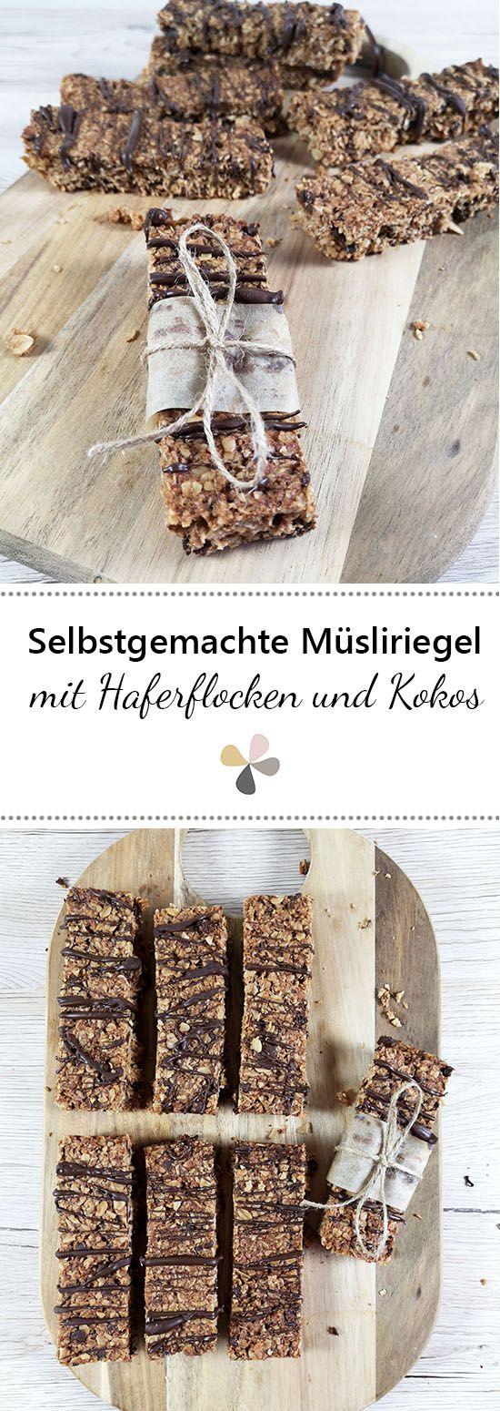 Selbstgemachte Müsliriegel mit Schokolade und Honig