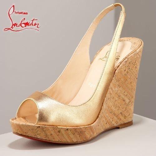 Chaussure Louboutin Pas Cher Sandale Dorée Talon Compensé Boisé Open-toes Plates-formes #shoesforwomen