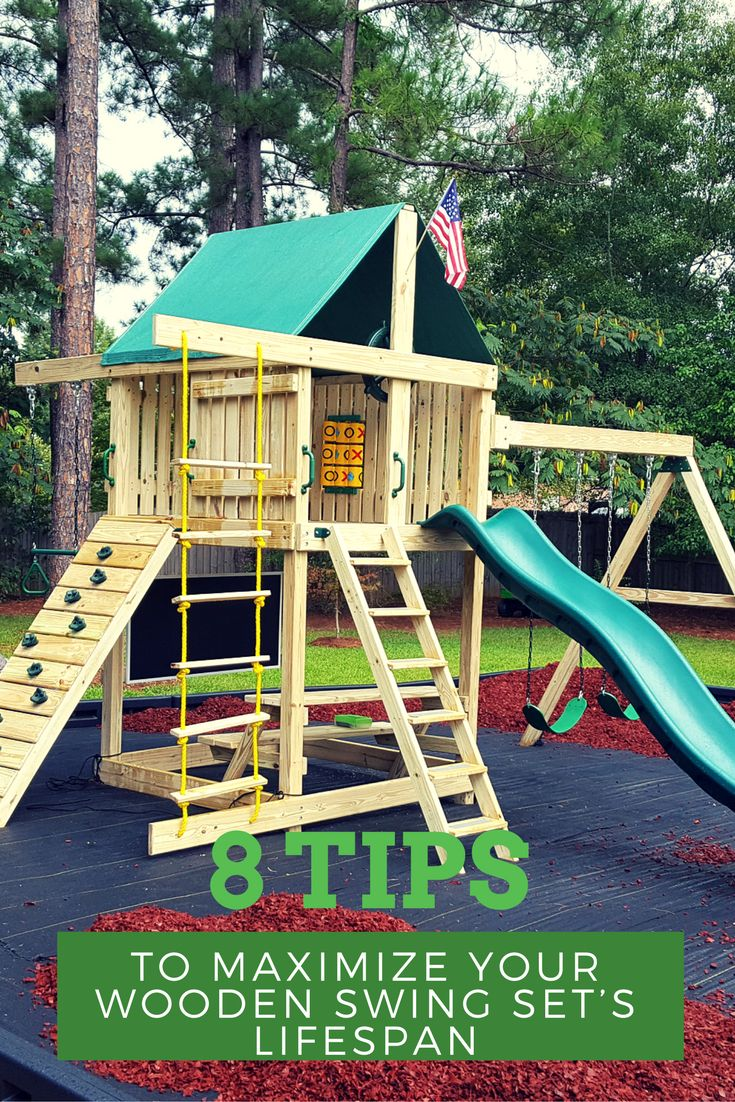 8 Tips to Maximize Your Wooden Swing Set's Lifespan  Keep your swing set not only looking good, but safe and sturdy for many years to come.