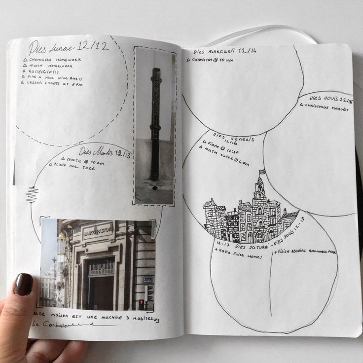 """quam-celerrime-ad-astra: """"12/12/16 // This week's layout is inspired by European architecture! I sometimes try to write the days of the week in different languages, superb memorisation technique! """""""