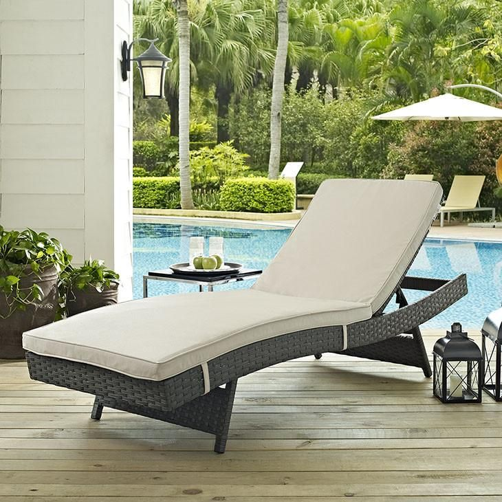 IndoorOutdoor Chaise Lounge Cushion Fabric: Textured Beige