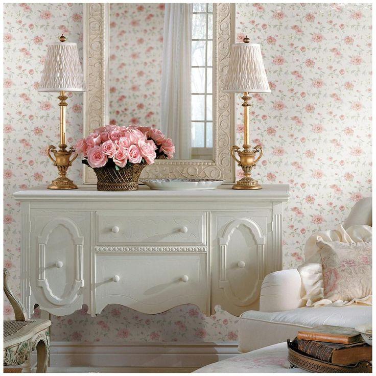 Bellas Rose Cottage Via Jennifer Beaton: Priscilla Pink Peony Floral Trail Wallpaper, White