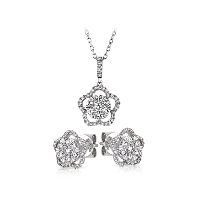 18ct White Gold Earring and Pendant Set