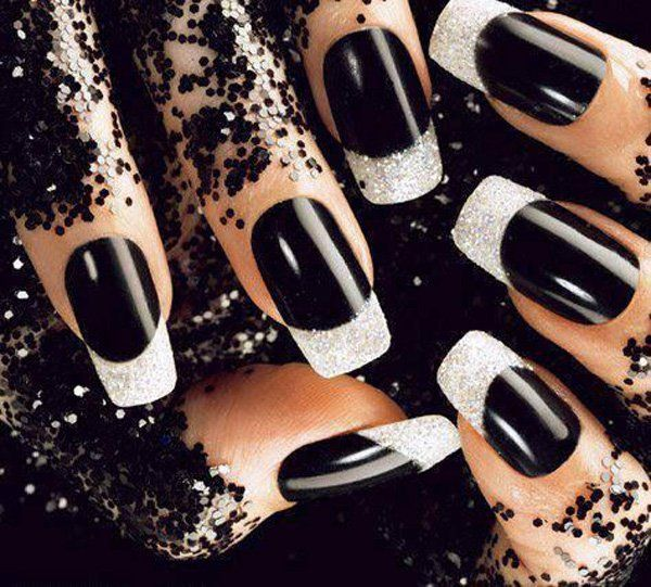 Black nails with white glitter rhinestones