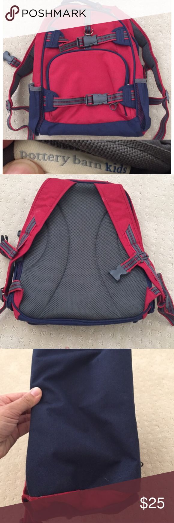 Pottery Barn Kids red backpack Red and navy backpack in excellent condition no holes or stains. The name is filled out but that should come out with some finger nail polish remover or magic eraser. This is the large backpack Potter Barn Kids Bags Backpacks