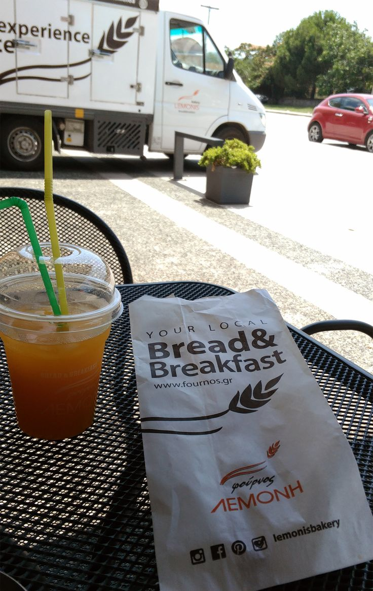 An excellent way to start your morning: a delectable snack and a freslhy squeezed orange juice from Lemonis bakery.