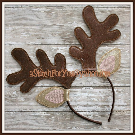 DESCRIPTION & SIZE ~ ~ ~ Designs fit the following hoops: hoops as described below-  TWO EARS & NOSE fits the 4x4 hoop TWO ANTLERS fits the 5x7