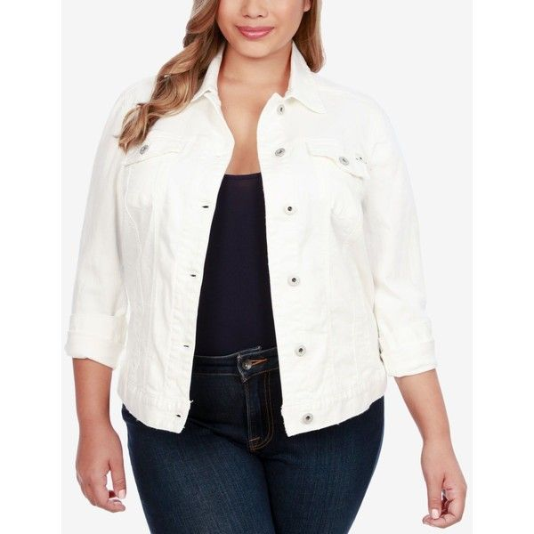 Lucky Brand Trendy Plus Size Printed-Back Denim Trucker Jacket (115 CAD) ❤ liked on Polyvore featuring plus size women's fashion, plus size clothing, plus size outerwear, plus size jackets, clean white, plus size denim jacket, white jean jacket, women's plus size denim jacket, white denim jacket and lucky brand jacket