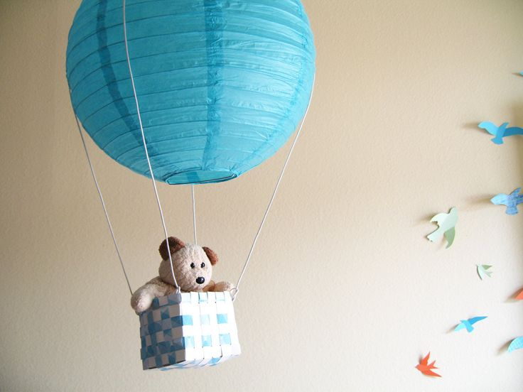 Diy kit 1 hot air balloon mobile hot air balloon blue for 3d baby room design