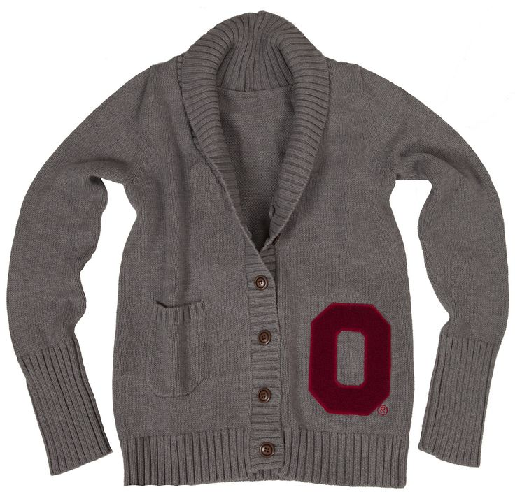 OSU Women's Gray Letterman Cardigan available this August at Macy's, Buckeye Corner, College Traditions and Simply Vague