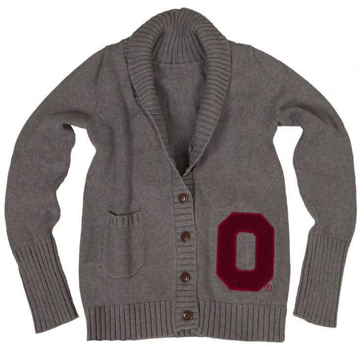 OSU Women's Gray Letterman Cardigan available now at Buckeye Corner and Fanatics.