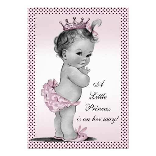Cute Vintage Princess Baby Shower Personalized Invitations
