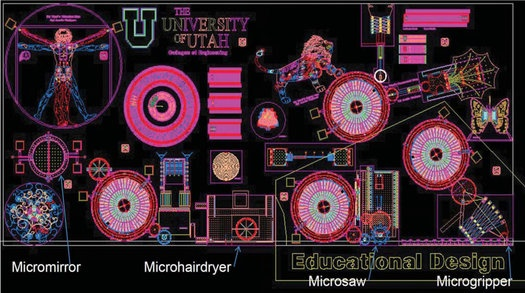 Microbarbershop: This microbarbershop was a winner of the MEMS (microelectronic and microelectromechanical systems)design contest at Sandia National Labs and can cut a single hair.