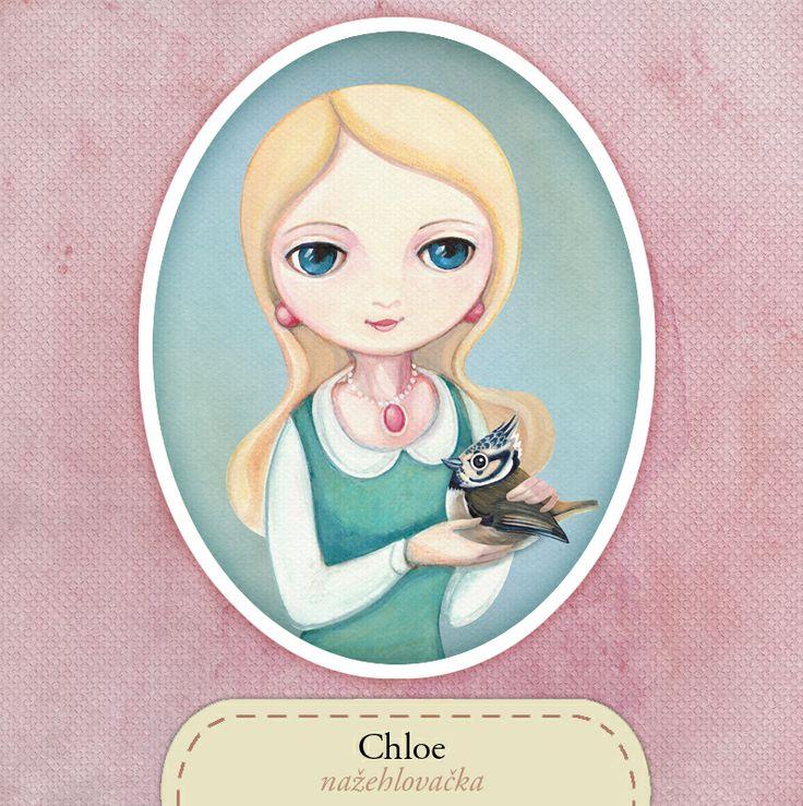 Chloe s ptáčkem - nažehlovačka zasněná dívenka Chloe - oválná nažehlovačka maximální velikost, kterou mohu nabídnout je 21x27,2 cm, v případě zájmu o jiný rozměr mne kontaktujte vnitřní poštou autor ilustrace: Klára Kubešová předloha je malována ručně profesionálními fixy, inkousty a akvarelovými barvami, dokončeno v počítači další dívčí nažehlovačky ...