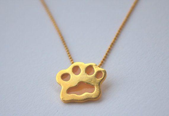 Enamel pendant / paw / gold plated on Etsy, 22,00€