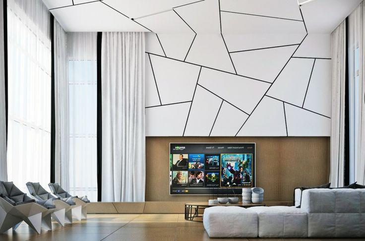 Soggiorno moderno con parete e soffitto bianco forme ...