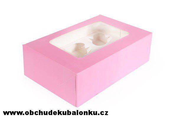 Krabička růžová na cupcakes (muffiny) 6 otvorů