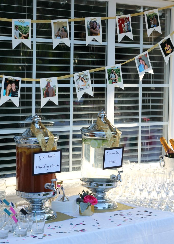 Great idea for engagement party decor. Pics of the newly engaged couple made into a banner.