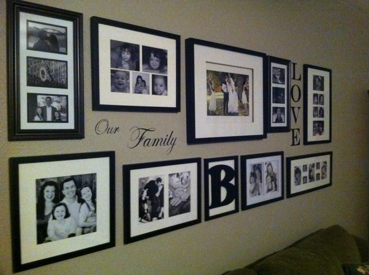 Blending family photos with some wall graphics makes the design even more personal.