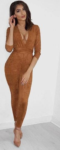 Deep V Neck Suede Belt Bodycon Jumpsuit Romper www.essish.com