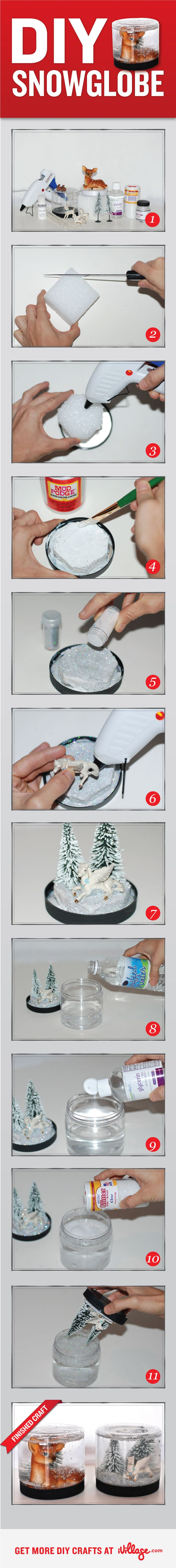 Learn how to make your own snow globe with our easy DIY #craft project. http://www.ivillage.com/diy-snow-globe/7-a-501266?cid=pin|crafts|snowglobe|11-26-12