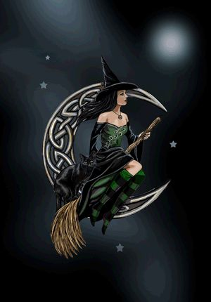 Pagan Witch on Celtic Moon Greetings Card