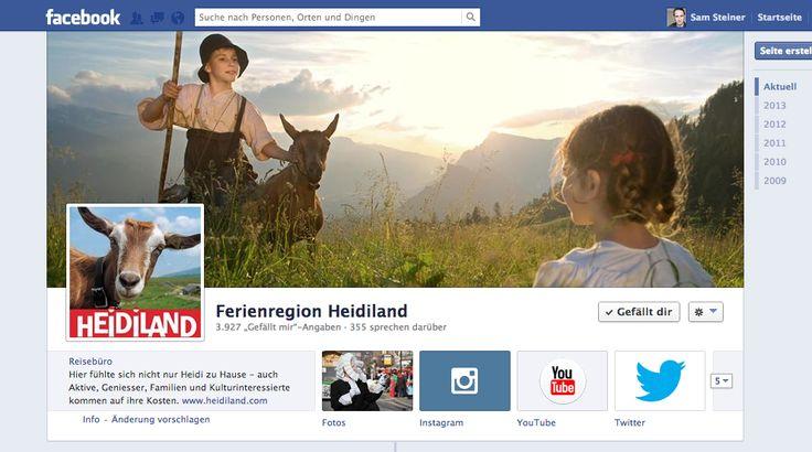 Ferienregion Heidiland - @Heidiland Tourismus - sehr guter Einsatz von Bildern, gute Interaktion mit Community. Lebendige Seite ohne teure Gimmicks (Low Budget). #tourismus #schweiz