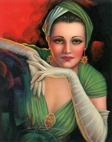 painted by ARMSTRONG. 1930's romantic pin up style portrait of a lady wearing a fashionable turban in green, matching her evening dress and long sleeves.