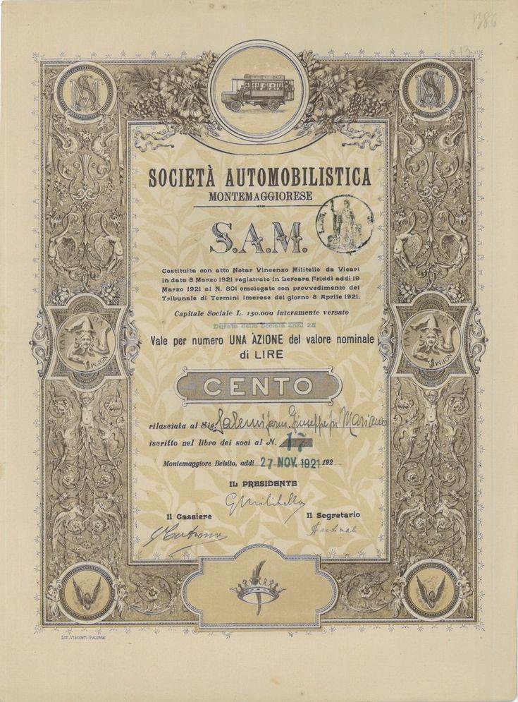 S.A.M. SOC. AUTOMOBILISTICA MONTEMAGGIORESE - #scripomarket #scriposigns #scripofilia #scripophily #finanza #finance #collezionismo #collectibles #arte #art #scripoart #scripoarte #borsa #stock #azioni #bonds #obbligazioni