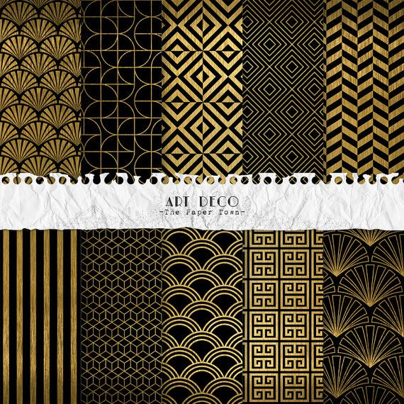 Black and Gold Art Deco Digital Scrapbook Papers by ThePaperTown
