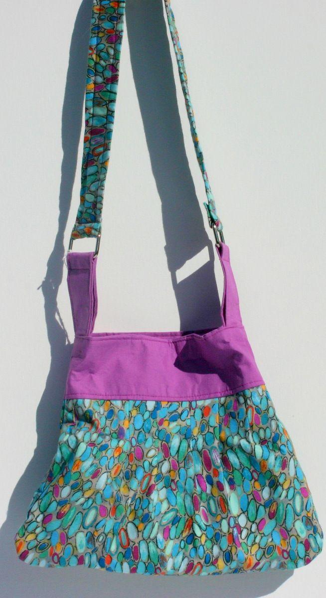 Multi colored/purple top cotton handbag. 29 x 23 cm $25