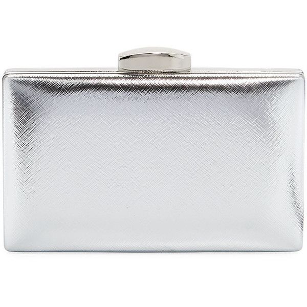 La Sera Leverage Metallic Clutch Bag ($35) ❤ liked on Polyvore featuring bags, handbags, clutches, grey, gray purse, chain handle handbags, grey purse, metallic clutches and grey handbags