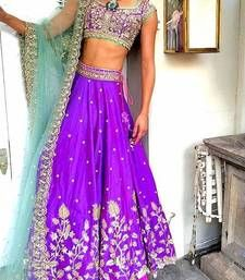 Buy Purple embroidered silk unstitched lehenga choli lehenga-choli online