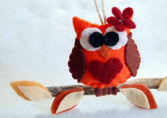 felt owl decoration, hanging,gift,baby, home, felt, handmade in italy. €15,00, via Etsy.