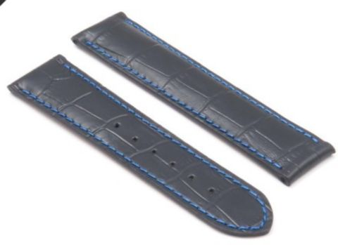 Omega Watch Strap Black with Blue Stitching Croco Embossed Leather