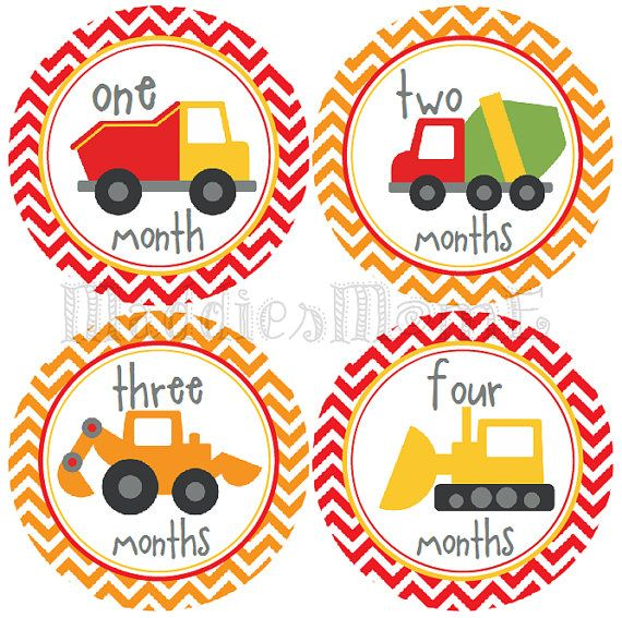 Boy Monthly Onesie Stickers Construction Trucks by MaddiesMomE, $8.99