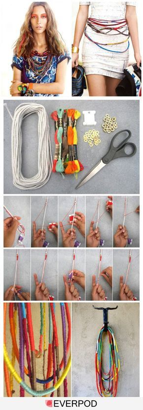 I like this idea BUT it does not give you directions - how much cord, how long? This is only a photo image.  I'm thinking I know how to do this knot, but can probably figure out what length I would want. I'd be tempted to macrame the whole long single length - adding colors as a I liked. How would you make this?