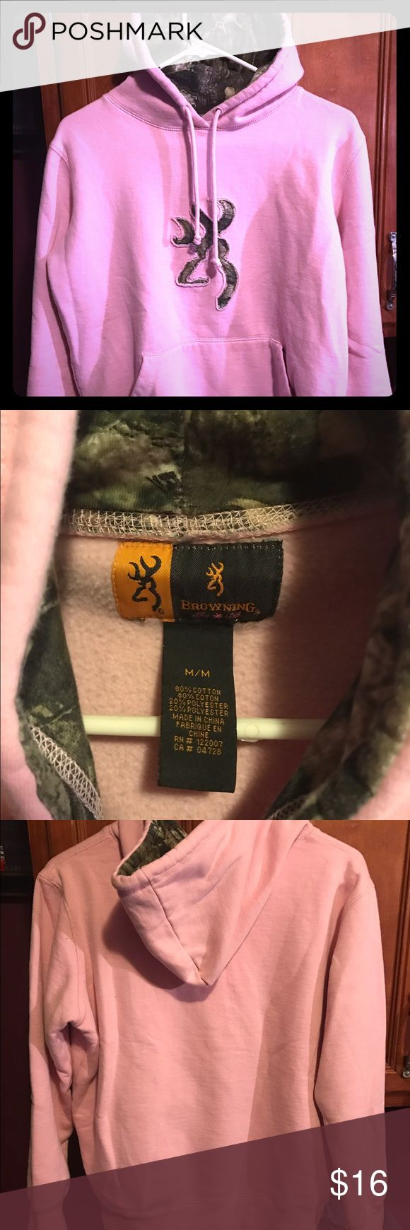Cute Light Pink Browning Symbol Hoodie Calling all cute country girls! Browning brand pink pullover hoodie. Camo patterned inside of hood and deer symbol on front. Ladies size medium, super comfortable and warm. Cute addition to any closet. Good, clean pre loved condition. Browning Sweaters Cardigans